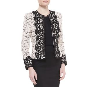 {Neiman Marcus} Two-Tone Lace Embroidered Jacket